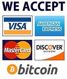 We accept most major credit cards and bitcoin